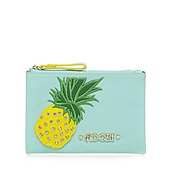 Floozie by Frost French - Light green diamante pineapple appliqueé purse