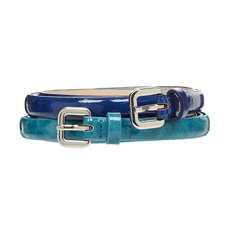 The Collection - Set of two blue textured skinny belts