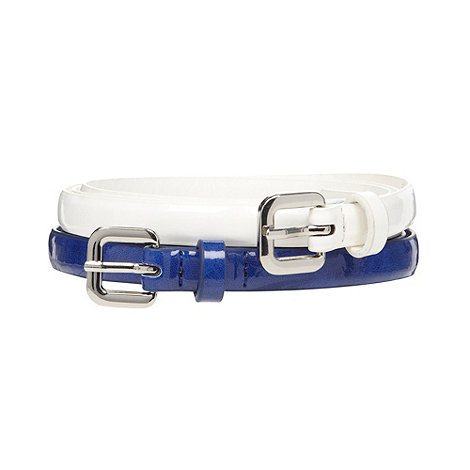 The Collection - Set of 2 blue skinny patent belts
