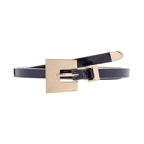 The Collection - Navy super skinny patent belt
