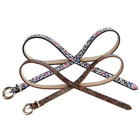 The Collection - Pack of two animal printed skinny belts