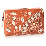 Orange leather 'chequers' cut out coin purse