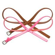 Set Of Two Tan And Fluorescent Pink Skinny Belts