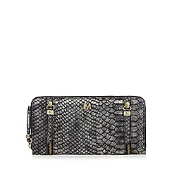 Star by Julien Macdonald - Silver metallic snakeskin-effect large foldover purse