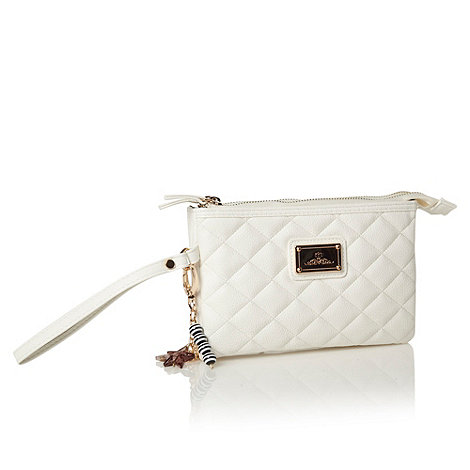 Red Herring - White quilted charm wristlet bag