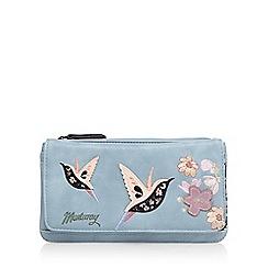 Mantaray - Light blue hummingbird appliqueé large purse