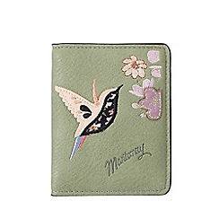 Mantaray - Green hummingbird applique travel card wallet