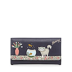 Mantaray - Navy cat and fish bowl applique wallet