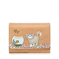 Mantaray - Brown cat and fish bowl appliqueé wallet