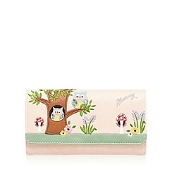 Mantaray - Light pink owl appliqueé wallet