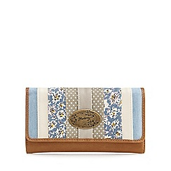 Mantaray - Tan striped textured foldover purse