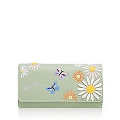 Mantaray - Light green floral embroidered flapover purse