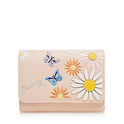 Mantaray - Light pink floral embroidered flapover purse