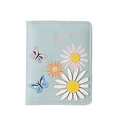 Mantaray - Light blue floral embroidered travel card