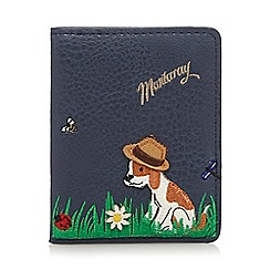 Mantaray - Navy dog appliqu  travel card wallet