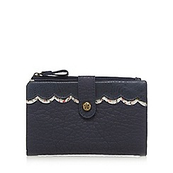 Mantaray - Navy scallop trim fold over purse