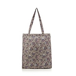 Mantaray - Grey owl print foldaway tote bag