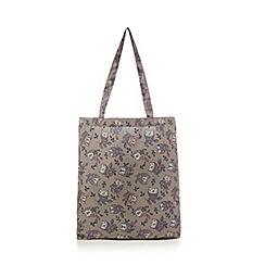 Mantaray - Grey owl print foldaway tote bag