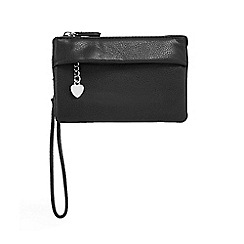 Red Herring - Black three compartment wristlet bag