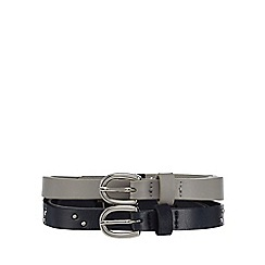 The Collection - Pack of two black and grey skinny belts