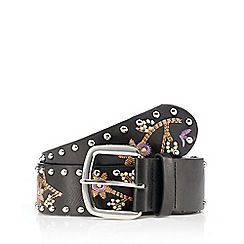 Red Herring - Black embroidered studded belt