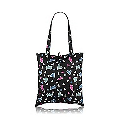 Radley - Black nylon 'Love Me, Love My Dog' Foldaway tote bag