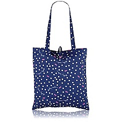Radley - Navy 'Vintage Dog Dot' Foldaway tote bag