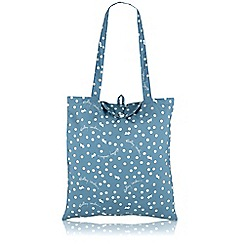 Radley - Blue 'Vintage Dog Dot' Foldaway tote bag