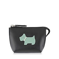 Radley - Small black leather 'Heritage Dog' coin purse