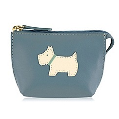 Radley - Small blue leather 'Heritage Dog' coin purse