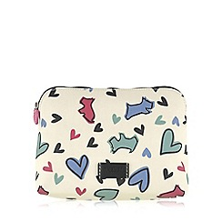 Radley - Medium ivory oilskin 'Love Me, Love My Dog' cosmetic case