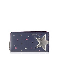 Radley - Large navy leather 'Night Shift' matinee purse