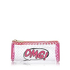 Skinnydip - Pink 'OMG' spotted pencil case