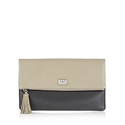 Osprey London - Black leather colour block fold over clutch bag