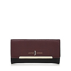 J by Jasper Conran - Dark red and black large flap-over purse