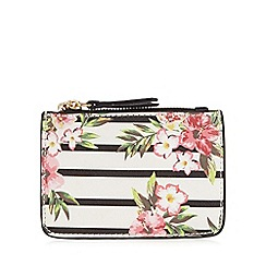 Call It Spring - White striped floral coin purse
