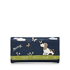 Mantaray - Blue dog applique large flap over purse