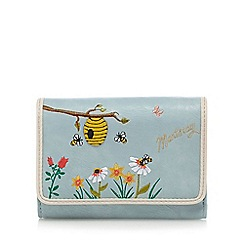 Mantaray - Light blue beehive applique medium flap over purse