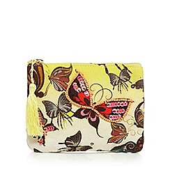 Mantaray - Yellow butterfly print sequin embellished coin purse