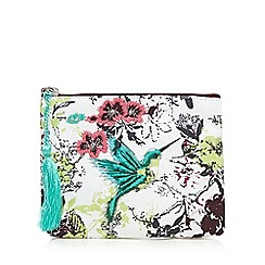 Mantaray - White bird print coin purse