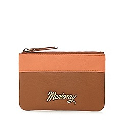 Mantaray - Tan leather contrast trim coin purse
