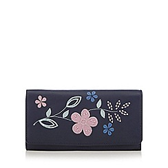 The Collection - Navy leather floral applique purse