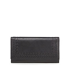 The Collection - Black leather stitch detail purse