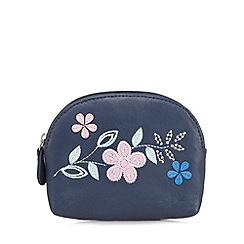The Collection - Navy leather floral applique coin purse
