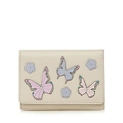The Collection - Cream leather butterfly applique purse