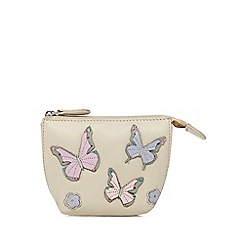 The Collection - Cream leather butterfly applique coin purse