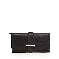 The Collection - Black leather bar flap-over purse