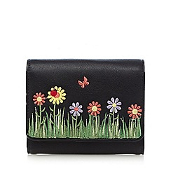 The Collection - Black floral applique small flap over purse