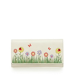The Collection - Cream floral applique large flap over purse