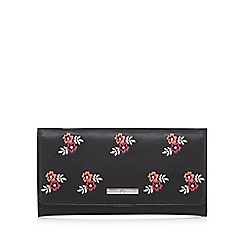 The Collection - Black large floral embroidered purse